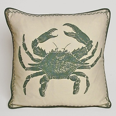 Kevin O'Brien Studio Nauticals Crab Throw Pillow; South Pacific