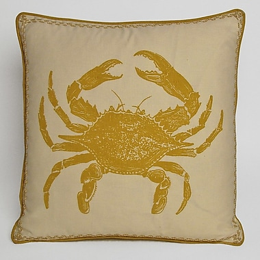 Kevin O'Brien Studio Nauticals Crab Throw Pillow; Yellow Submarine