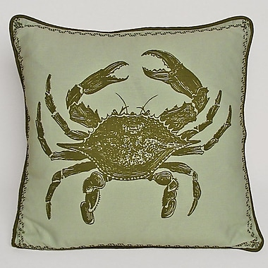 Kevin O'Brien Studio Nauticals Crab Throw Pillow; Sea Glass