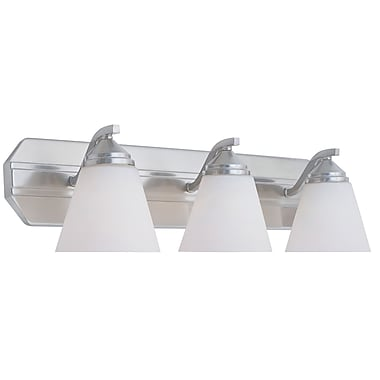 Designers Fountain Piazza 3-Light Vanity Light; Satin Platinum with Frosted White Shade