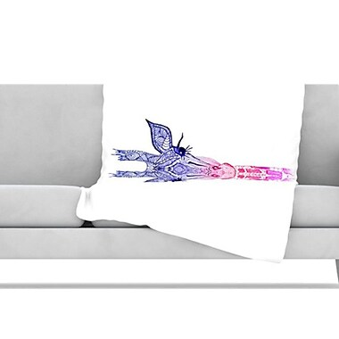 KESS InHouse Rainbow Giraffe Fleece Throw Blanket; 80'' H x 60'' W