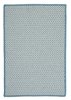 Colonial Mills Outdoor Houndstooth Tweed Sea Blue Area Rug; Square 12'