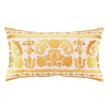 Sis Boom by Jennifer Paganelli Lily Embroidered Linen Lumbar Pillow; Gold