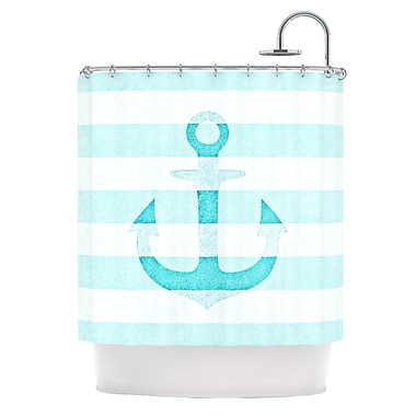 KESS InHouse Stone Vintage Anchor Shower Curtain; Purple