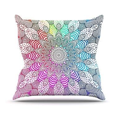 KESS InHouse Rainbow Dots Throw Pillow; 18'' H x 18'' W