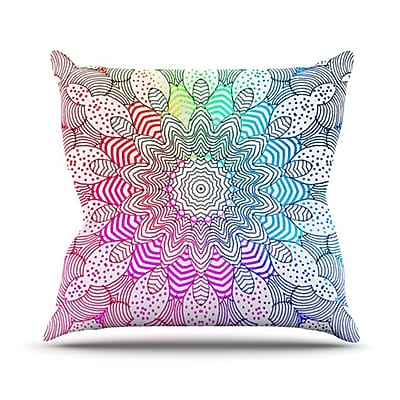 KESS InHouse Rainbow Dots Throw Pillow; 20'' H x 20'' W
