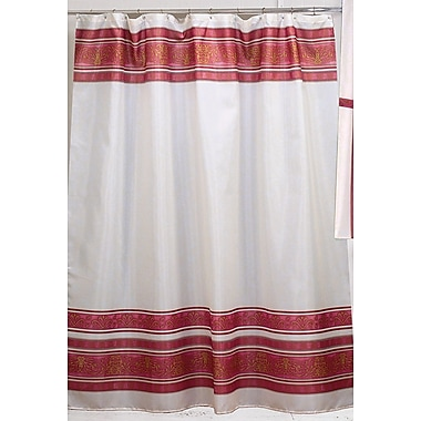 Carnation Home Fashions Fleur Shower Curtain; Burgundy