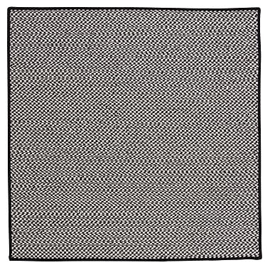 Colonial Mills Outdoor Houndstooth Tweed Black Rug; Square 4'