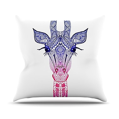 KESS InHouse Rainbow Giraffe Throw Pillow; 20'' H x 20'' W