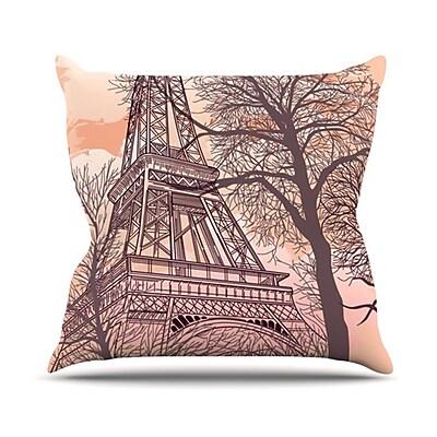 KESS InHouse Eiffel Tower Throw Pillow; 20'' H x 20'' W