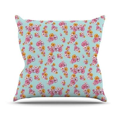 KESS InHouse Paper Flower Throw Pillow; 18'' H x 18'' W