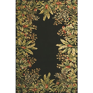 KAS Rugs Emerald Black/Green Tropical Border Area Rug; Round 5'6''