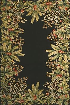 KAS Rugs Emerald Black/Green Tropical Border Area Rug; Round 7'6''