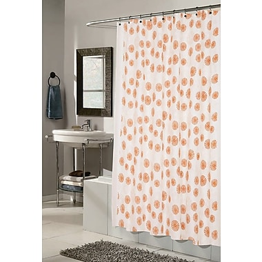 Carnation Home Fashions Vienna Shower Curtain; Ivory and Tangerine