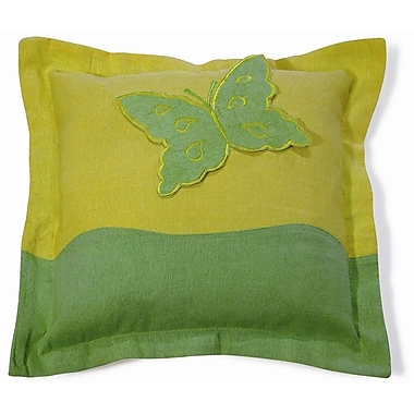 New Spec Embroidery Butterfly Cotton Throw Pillow; Green