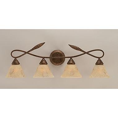 Toltec Lighting Leaf 4-Light Vanity Light; Italian Marble Glass