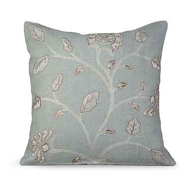 Gracious Living Foliage Burlap Throw Pillow; Charlotte Blue