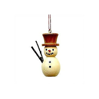 Christian Ulbricht Natural Wood Finish Snowman Ornament