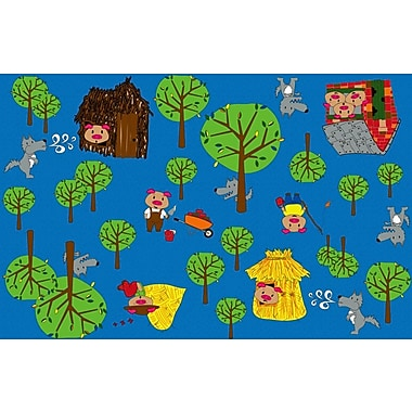 Kid Carpet Huff and Puff Nursery Blue/Green Area Rug; Rectangle 12' x 15'