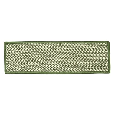 Colonial Mills Outdoor Houndstooth Tweed Leaf Green Stair Treads; Set of 13