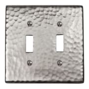The Copper Factory Hammered Copper Double Switch Plate; Satin Nickel