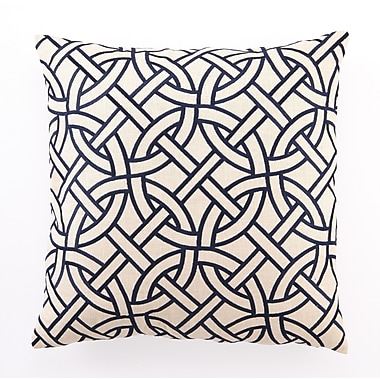 D.L. Rhein Embroidered Circle Link Linen Throw Pillow; Navy