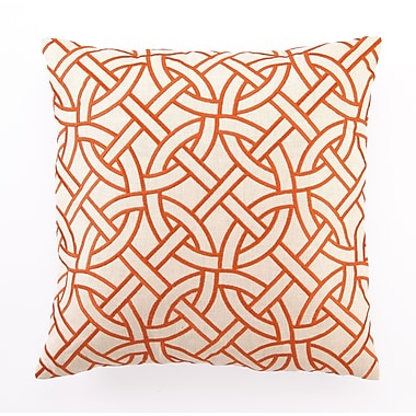 D.L. Rhein Embroidered Circle Link Linen Throw Pillow; Orange