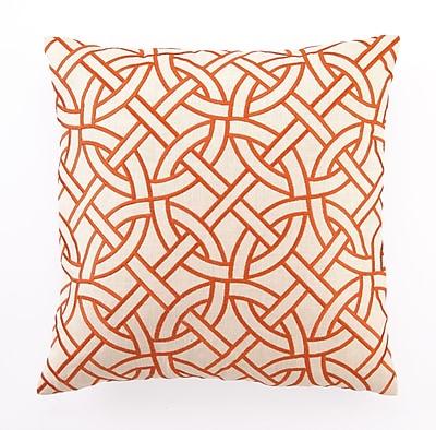 D.L. Rhein Embroidered Circle Link Linen Throw Pillow; Orange