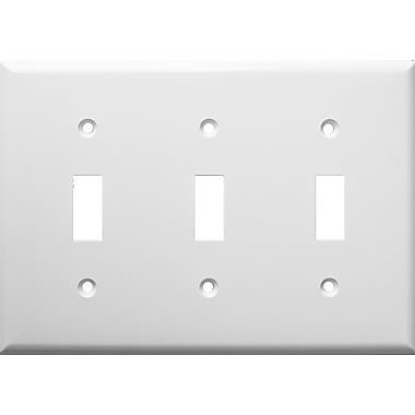 Morris Products 3 Gang Lexan Wall Plates for Toggle Switch in White