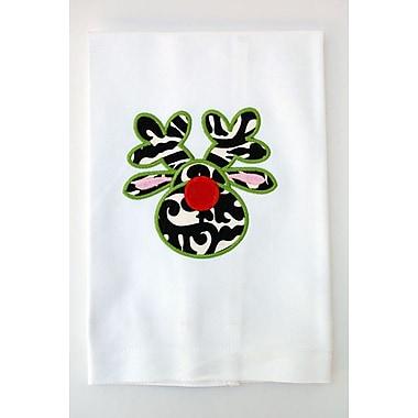 Samantha Grace Designs Egyptian Quality Cotton Huck Holiday Applique Reindeer Hand Towel