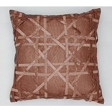 AV Home Lattice Silk Dupioni Throw Pillow; Chocolate