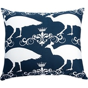 The Well Dressed Bed Peacock Accent Cotton Throw Pillow; Navy