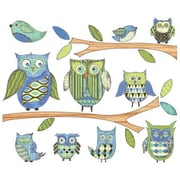 4 Walls Owls Branches Pre-Pasted Accent Wall Decal; Blue