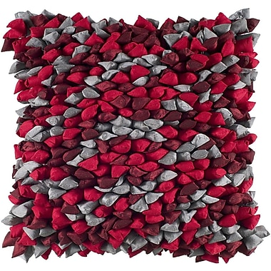 Rizzy Home Decorative Throw Pillow; Red / Silver