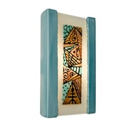 A19 ReFusion Abstract 1-Light Wall Sconce; Teal Crackle and Turquoise