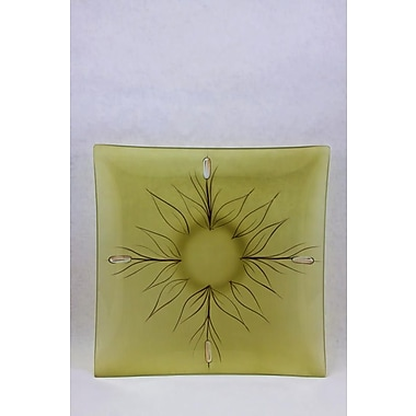 Womar Glass Cat Tail Square Platter; Green