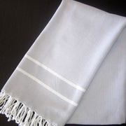 Scents and Feel Fouta Herringbone Stripe Towel; Grey/White Stripe