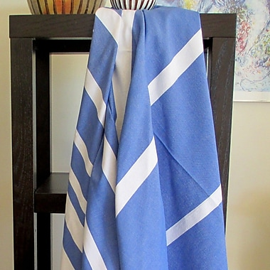 Scents and Feel Striped Fouta Towel; Blue Jeans / White