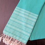 Scents and Feel Honey Comb Fouta Towel; Emerald Green / Light Green