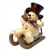 Christian Ulbricht Natural Wood Finish Snowman on Sled Incense Burner