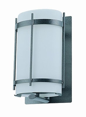 DVI Vermillion 1 Light Outdoor Wall Lantern; Hammered Black with Half Opal Glass Shade