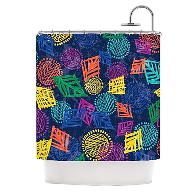 KESS InHouse African Beat Shower Curtain; Blue