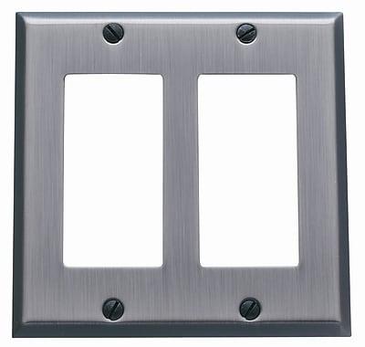 Baldwin Classic Square Bevel Design Double GFCI Switch Plate; Venetian Bronze
