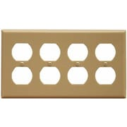 Morris Products 4 Gang Duplex Lexan Receptacle Wall Plates in Ivory