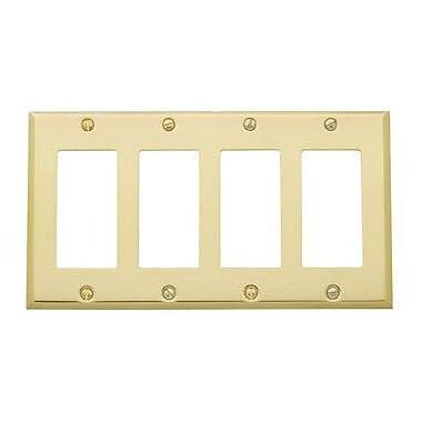 Baldwin Classic Square Bevel Design Quad GFCI Switch Plate; Satin Nickel