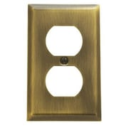 Baldwin Classic Square Bevel Design Single Duplex Switch Plate; Polished Brass