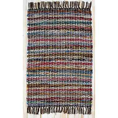 CLM Hopscotch Cocoa Striped Area Rug; Rectangle 2' x 3'