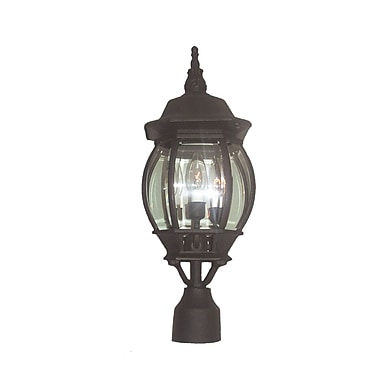 Woodbridge Basic 3-Light Lantern Head; Powder Coat Black