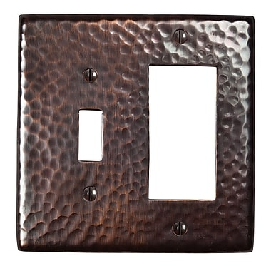 The Copper Factory Hammered Copper Single Switch and GFCI Combination Plate; Antique Copper