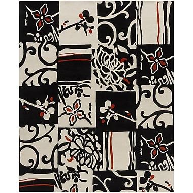 Chandra Hanu Black/Ivory Abstract Area Rug; 6' x 9'